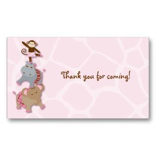 Girl Monkey Jungle Baby Shower Favor Gift Tags Business Card Template