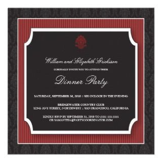 Elegant Damask Dinner Party Invitation (maroon)