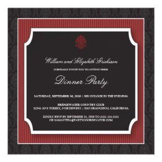 Elegant Damask Dinner Party Invitation (maroon)