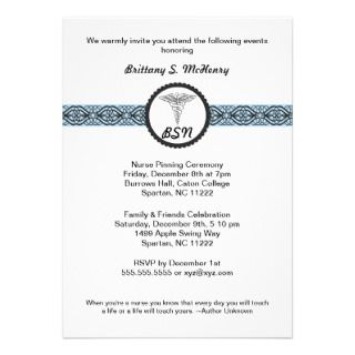 Caduceus Nursing Graduation Invite BLUE with quote