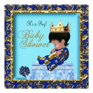 American Baby Shower Blue Gold Boy Custom Invitations
