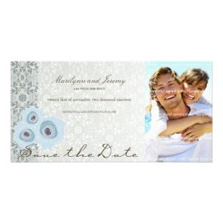Blue Roses & Lace Save The Date Custom Photo Card