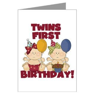 Twins First Birthday Greeting Cards  Buy Twins First Birthday Cards