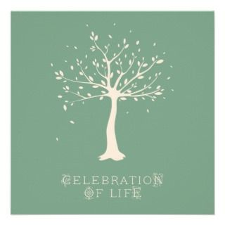 Celebration of Life   Custom   Elegant Tree Motif Custom Announcement