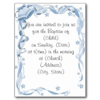 Baptism Invitiation Postcard
