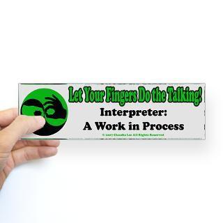 Sign Language Interpreter Stickers  Car Bumper Stickers, Decals