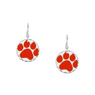 Canine Gifts  Canine Jewelry  Red Paw Print Earring Circle Charm