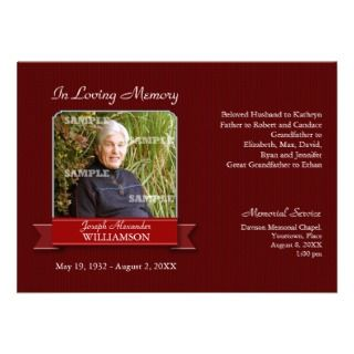 Burgundy Pinstripe Banner Memorial Notice Custom Invite