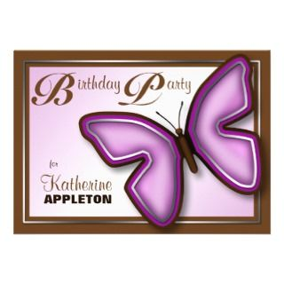 Brown Purple Butterfly Birthday Party Invitations