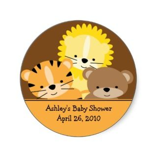 Baby Animals Baby Shower Sticker