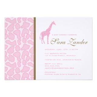 Giraffe Baby Shower Invitation   Girl