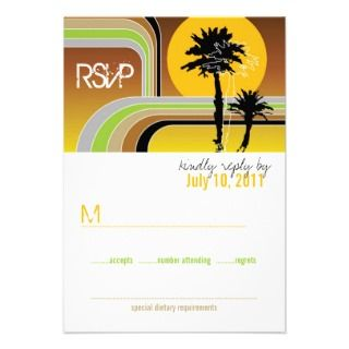fatfatin Retro Sunset Tropical Wedding RSVP Custom Announcement