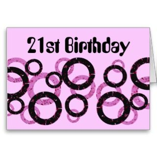 21st Birthday, black and pink circles on pink Card