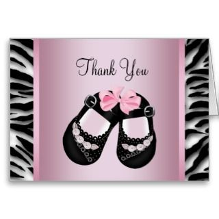 Pink Zebra Baby Girl Shower Thank You Greeting Card