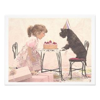 Little Girl & Dog Celelbration Custom Invitations