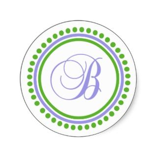 Monogram (Violet Purple / Green Dot Circle) Round Sticker