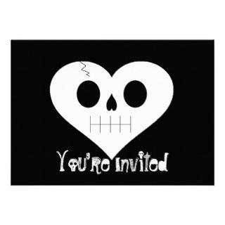 Skull Heart Face Invitations