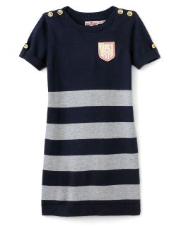 Couture Girls Elbow Sleeve Preppy Striped Sweater Dress   Sizes 7 14