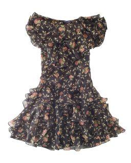 Lauren Childrenswear Girls Black Floral Chiffon Dress   Sizes 7 16