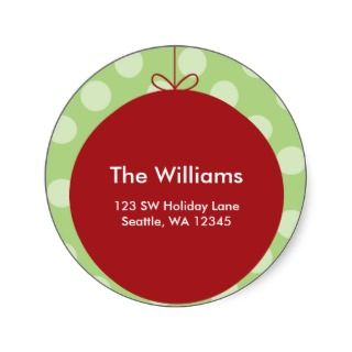 Red Ornament Polka Dots Christmas Address Label Round Sticker