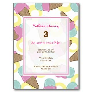 Strawberry Mint Ice Cream Birthday Invite Postcard