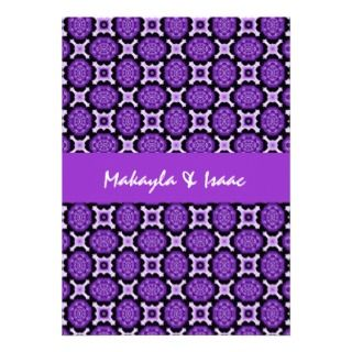 Bold Purple Flowers Modern Wedding L589 Custom Announcements