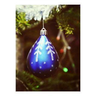 Blue christmas tree ornament custom invites
