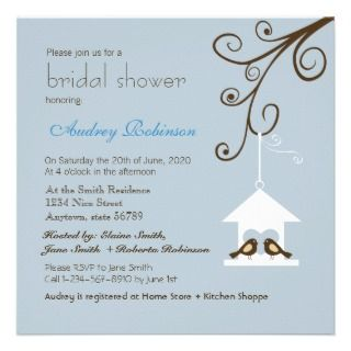 Bird House Bridal Shower Personalized Announcements