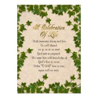 Celebration of life Invitation ivy