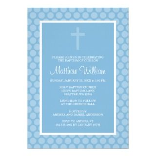 Blue Polka Dot Cross Boy Baptism Christening Custom Invites