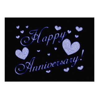 8290 Happy Anniversary wishes glitter silver Personalized Invitation