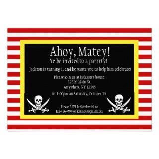 Pirate Jolly Roger Birthday Invitation