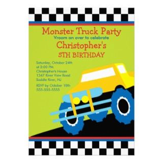 Monster truck Birthday Party for boys Custom Announcement