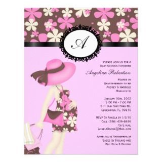 Baby Boy or girl Blue & Pink Cute Shower Flowers Invites