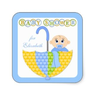 Baby Boy and Umbrella Baby Shower Stickers