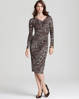 Lafayette 148 New York Long Sleeve Imperial Tiger Print Jersey Dress