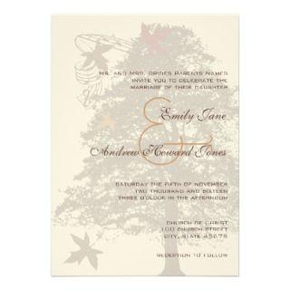 Brown Oak Tree Wedding Invitation