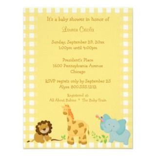 Yellow Plaid Baby Animals Baby Shower Invitation