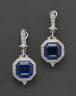 Judith Ripka Estate Ascher Cut Stone Earrings with Lab Created Blue