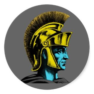 Graphic Roman Gladiator Round Stickers
