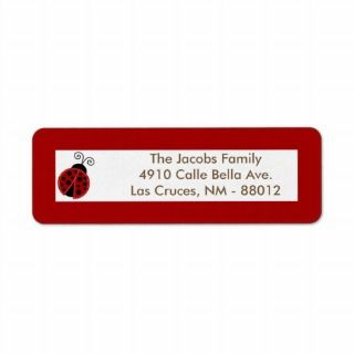 75x2.25 Return Address Label Red Ladybug