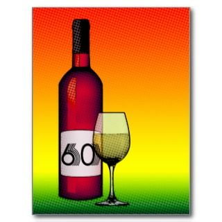 60th birthday : halftone wine bottle & glass personalized invites