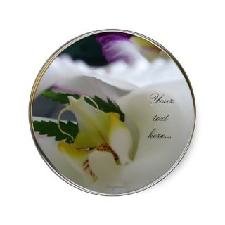 White Orchid Beauty Wedding Invitations Seals Round Stickers