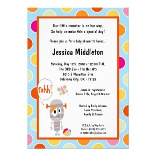 5x7 Little Monster Baby Shower Invitation