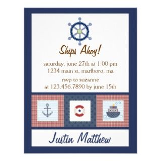 Nautical Birthday Party Personalized Invitation