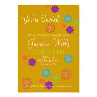 Birthday Party Invite  Colorful Sweet 16