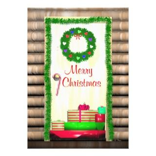 Country Merry Christmas Door Greeting Card Custom Announcements