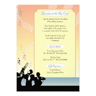 Hollywood Musical Wedding Invitation Enclosure