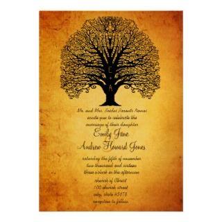 Vintage Old Paper Swirl Tree Wedding Invitations