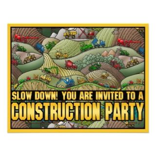 Construction Equipment Theme Kids Party Invitation